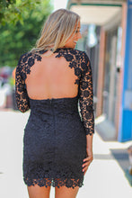 Black V Neck Crochet Open Back Dress