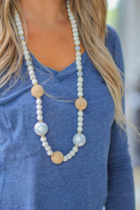 Gray Cork Bead Necklace