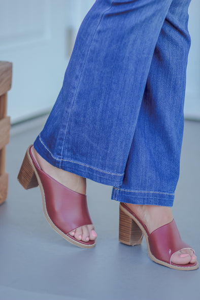 Brick Open Toe Block Heel