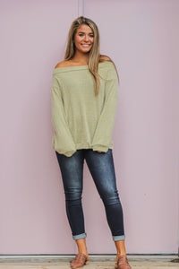 Sage Fuzzy off The Shoulder Sweater