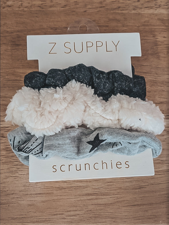 Z Supply Heather Grey 3 Pack Scrunchies