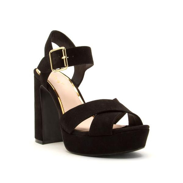 Black X Band Block Heel