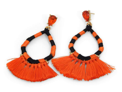 Erimish Gameday Earrings Black and Orange Fringe
