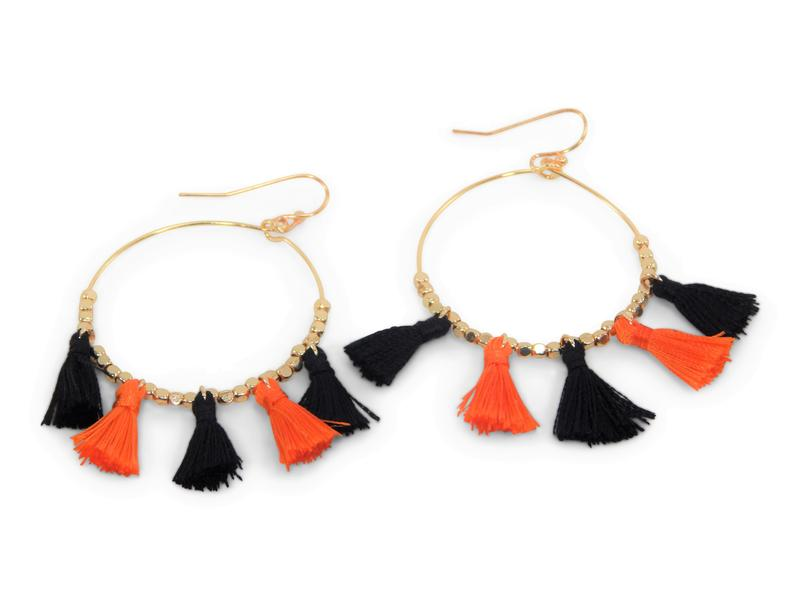 Erimish Gameday Earrings Black and Orange Tassels