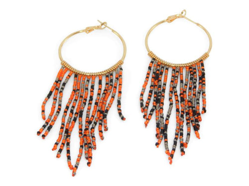 Erimish Gameday Earrings Beaded Orange and Black