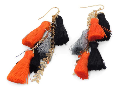 Erimish Gameday Earrings Orange and Black Pom Poms