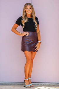 Faux Leather Wine Mini Skirt