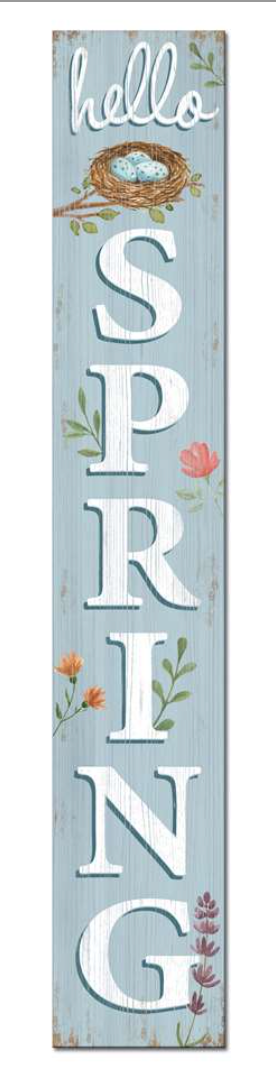 Hello Spring Light Blue Porch Board Sign