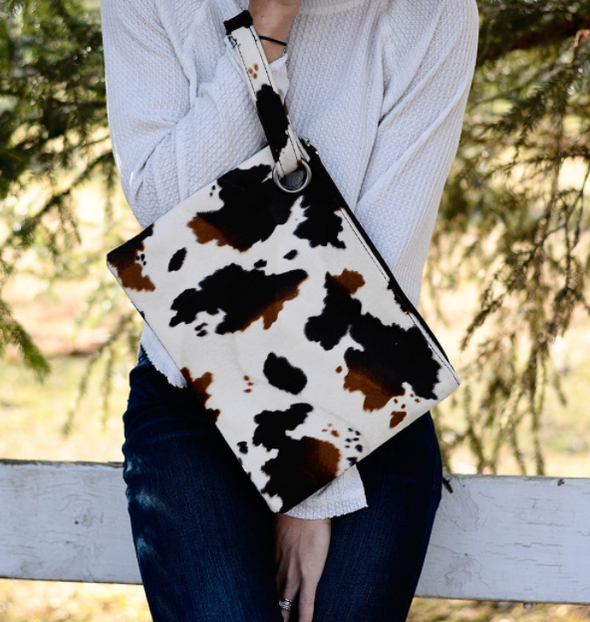 Cow Print Clutch in Brown