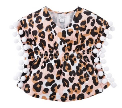 Girls Leopard Pom Swimsuit Cover Up