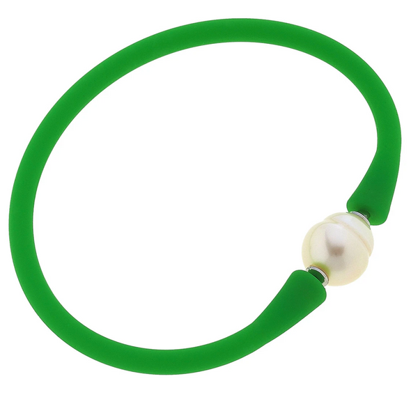 Bali Freshwater Pearl Silicone Bracelet in Several Colors