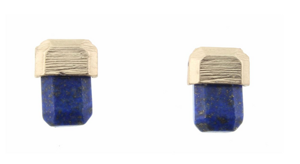 Royal Blue And Gold Color Block Rounded Rectangle Stud Earring