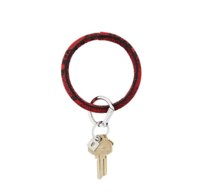 Oventure Ruby Snakeskin Leather Big O Key Ring