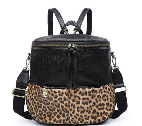 Black and Leopard Convertible Backpack Handbag