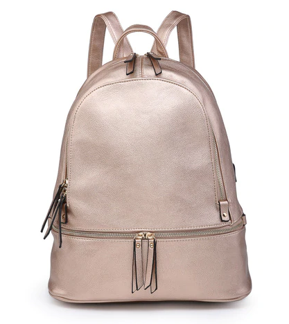 Rose Gold Triple Zip Backpack