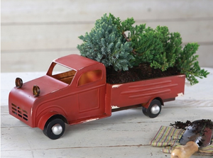 Red Decorative Tin Truck