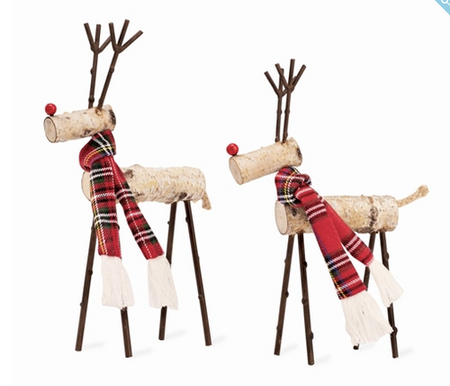 Tartan Birch Reindeer Sitter in Two Sizes