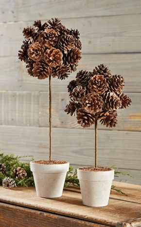 Preserved Pinecone Topiary in Two Sizes
