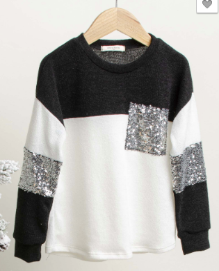 Kids Ivory Colorblock Sequin Pocket Top