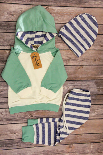 Baby Boy Three Piece Blue and Green Striped Outfit