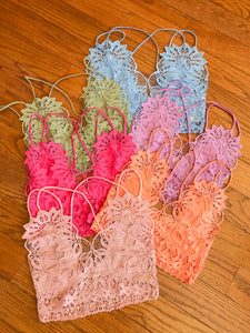 Crochet Lace Mesh Bralette in many colors