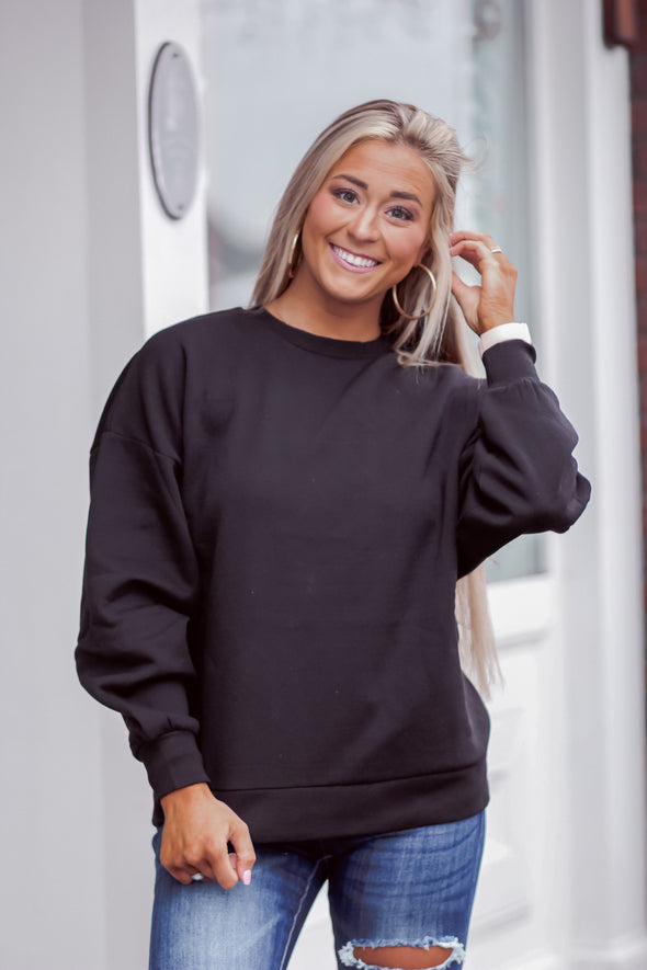 Drop Shoulder Oversized Sweatshirt in Black