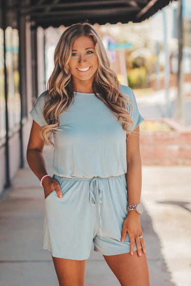 Solid Short Sleeve Romper in Several Colors