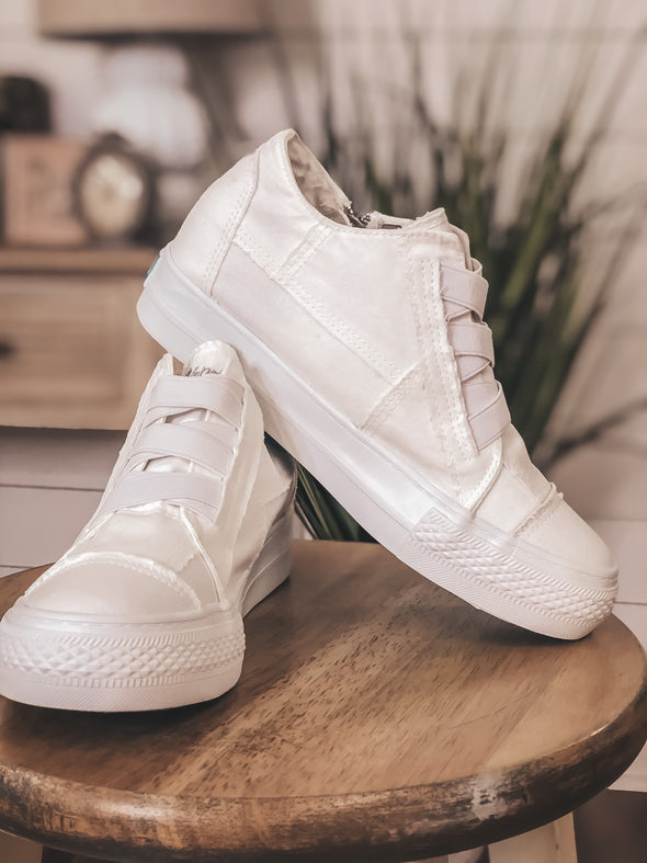 Blowfish White Mamba Sneaker Wedge