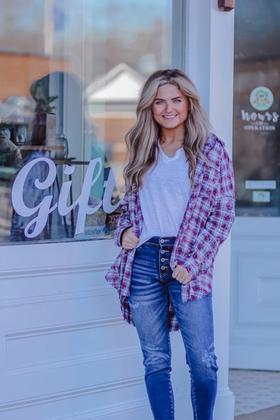 Wine Cabo Plaid Flannel Top