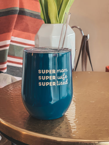 Swig Life Super Mom Super Wife Super Tired 12oz Stemless Wine Cup