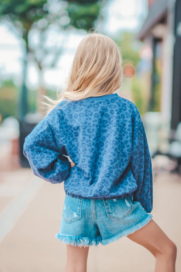Z Supply Girls Vintage Blue Carmen Leopard Sweatshirt