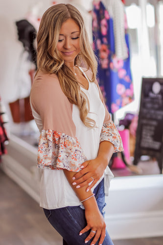 Ivory and Clay Floral Sleeve Top