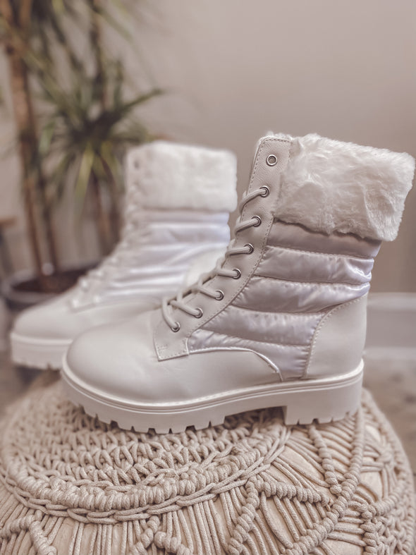 White Winter Combat Boot