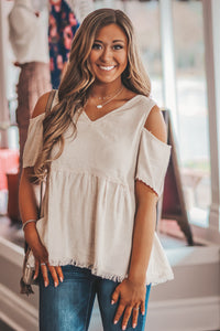 Oatmeal Cold Shoulder Top