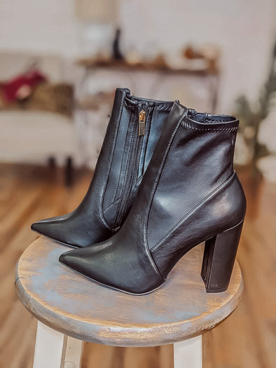 Black Pointed Toe Bootie