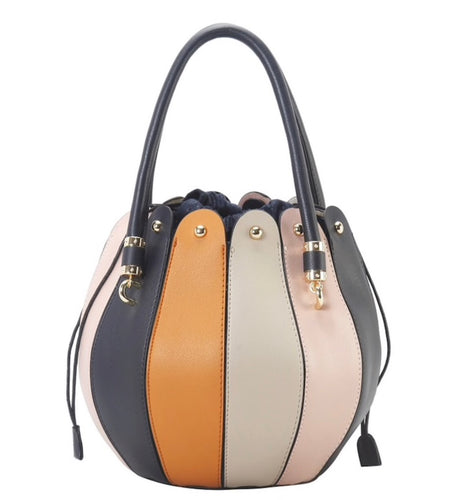 Multi Color Colorblock Stripe Round Handbag in TWO Colors