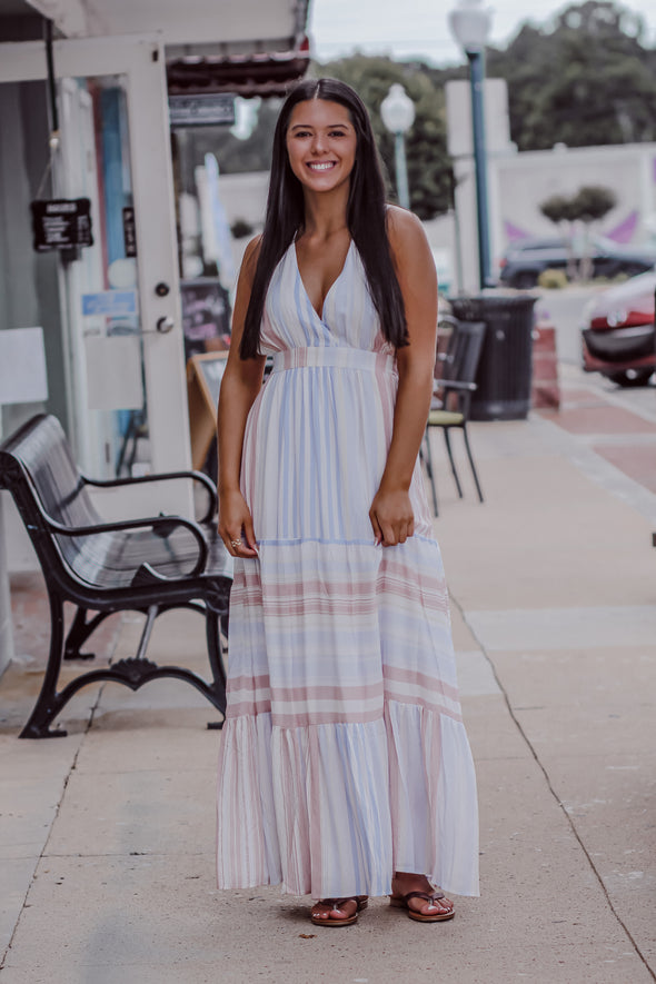 Pastel Multi Stripe Open Back Maxi Dress