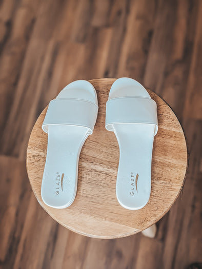 White Basic Slide On Sandals