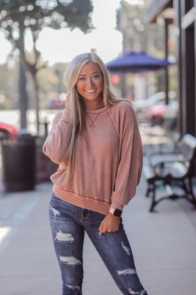 Z Supply Copper Claire Waffle Long Sleeve