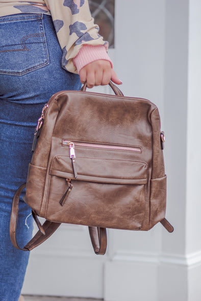 Amelia Convertible Backpack with Guitar Strap in Coffee
