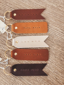 Handmade Leather KeyChains in Super Cute Phrases