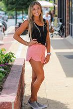 Peach Raw Hem Knit Shorts