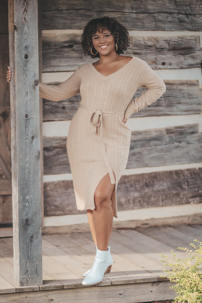 Taupe Cable Knit Midi Sweater Dress