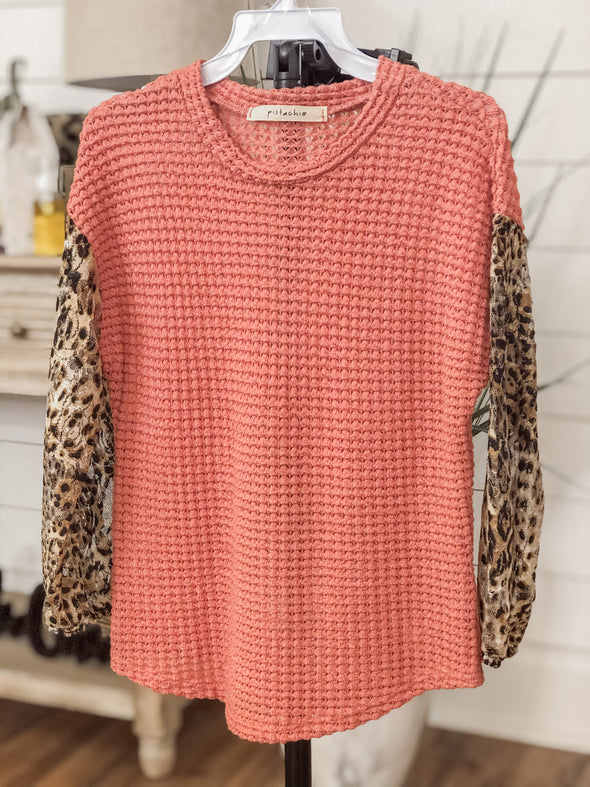Rust Kids Top With Leopard Sleeves