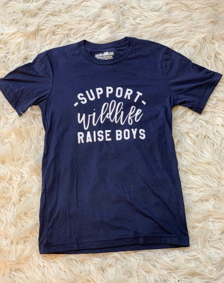 Support wildlife raise boys graphic T