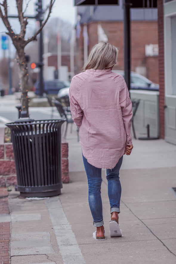 Plush Cotton Button Down Oversized Top in Mauve