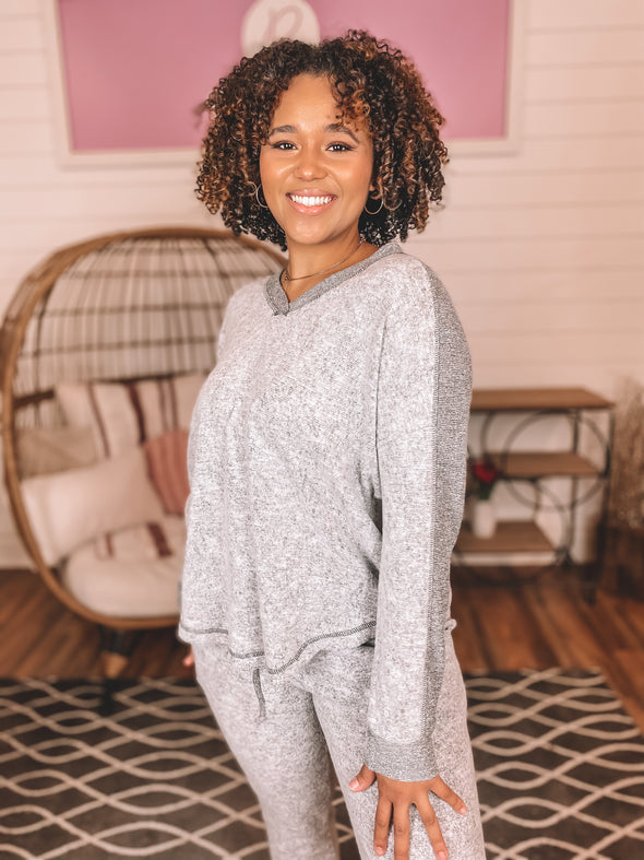 Heather Grey V Neck Long Sleeve Contrast Top