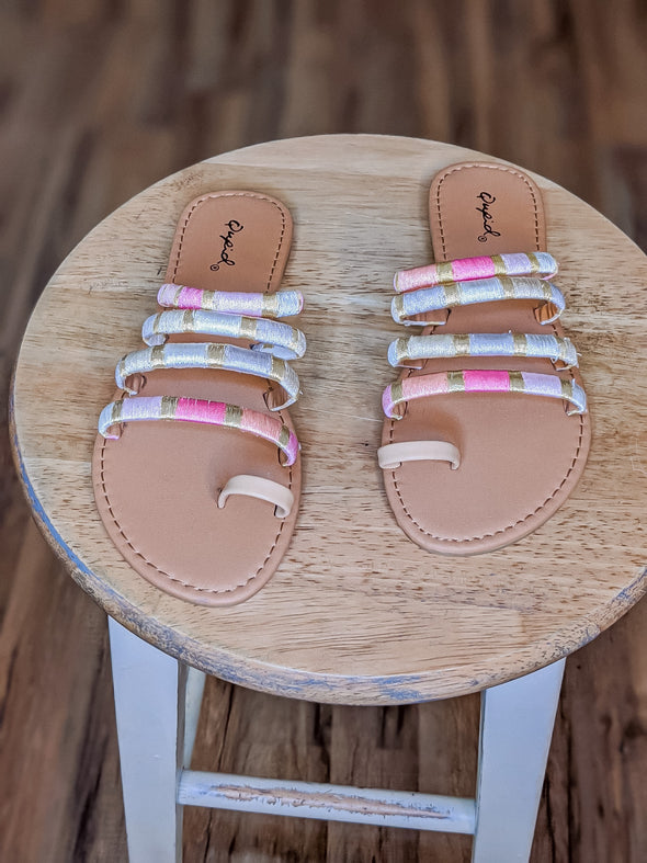 Pink And Gold Strappy Sandal