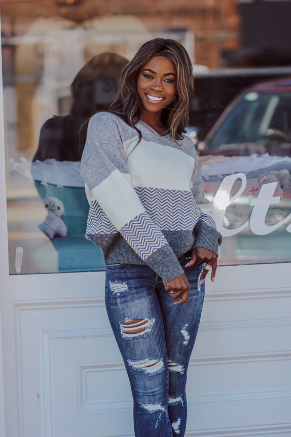 Heather Grey and Chevron Color Block Sweater