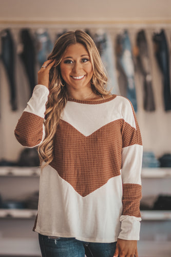 Spice Chevron Waffle Knit Top